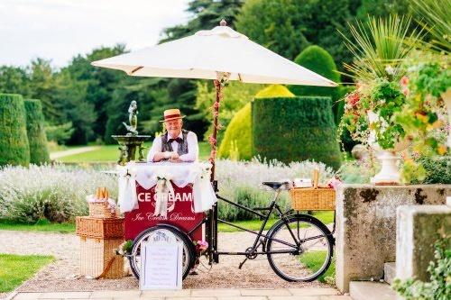 Our beautiful burgundy ice cream bike.