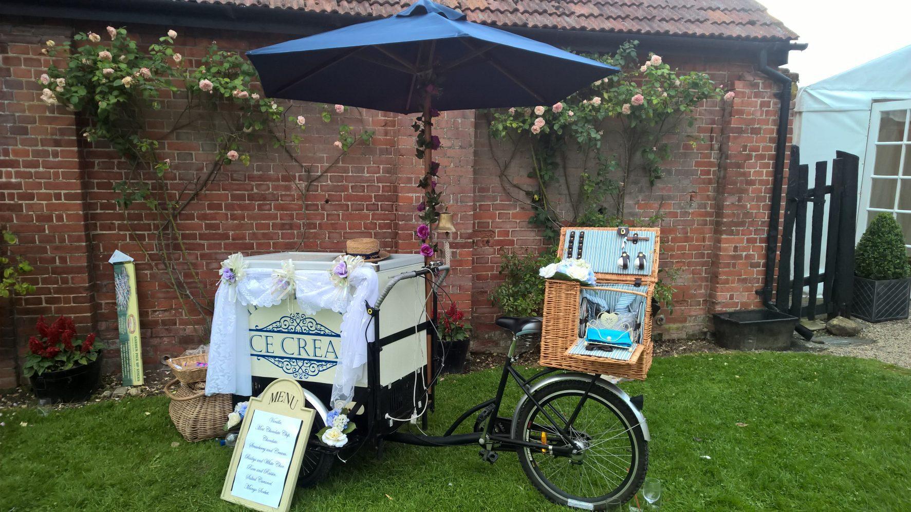 ice cream bicycle at wedding.